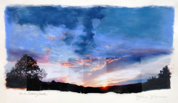 Rt 20 Sky, photographs, watercolor, pasterl