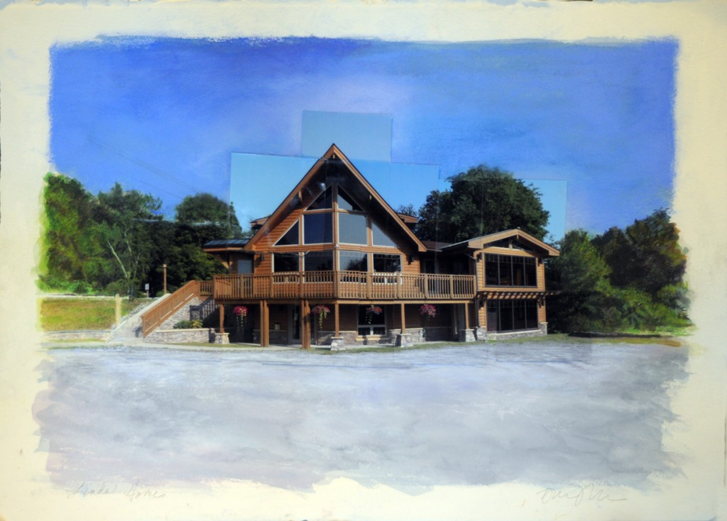 """Lindal Homes, Otis MA""   22""30"" collage, photographs, pastel, watercolor"