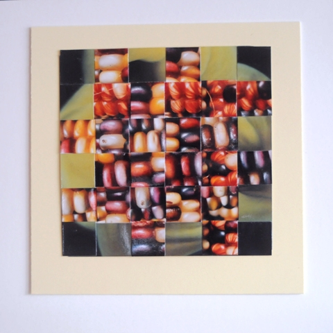 """Colorful Corn and Lily"" 6""x6"" repurposed woven photos, double matted to 10""X10"""