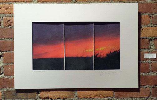 "July 4, Blazing Sunset       image transfer triptych on paper       18""x27"""