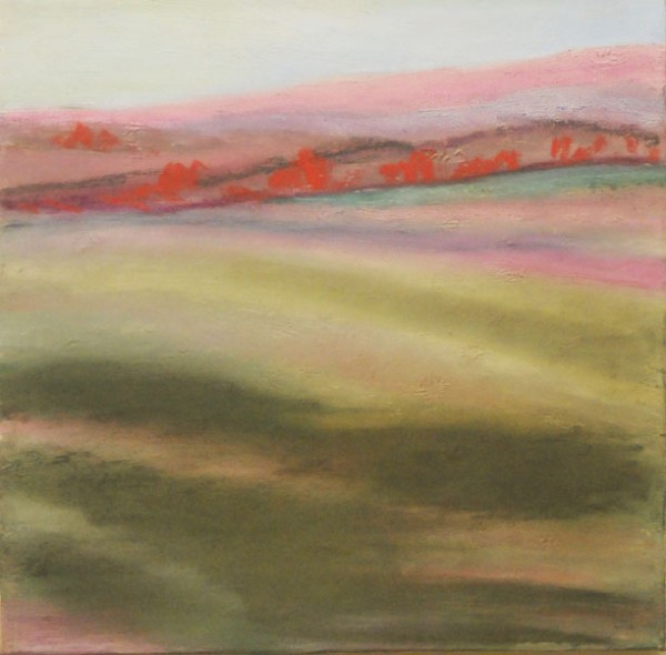 Field with Orange, mixed media: image transfer on canvas/oil/pastel