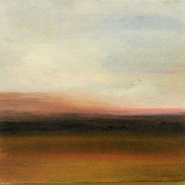 "Sunset on the Field mixed media 10""x10"""