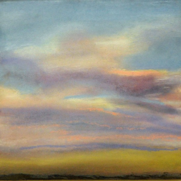 Clouds Over the Field, mixed media: image transfer on canvas/oil/pastel