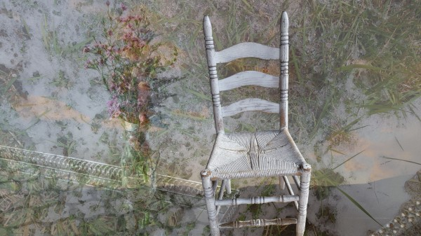 Dottie's White Chair, ltd edition digital collage archival inkjet print on museum grade, 100% cotton rag paper